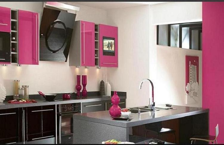 cocina integral acabados color rosa grafito chocolate